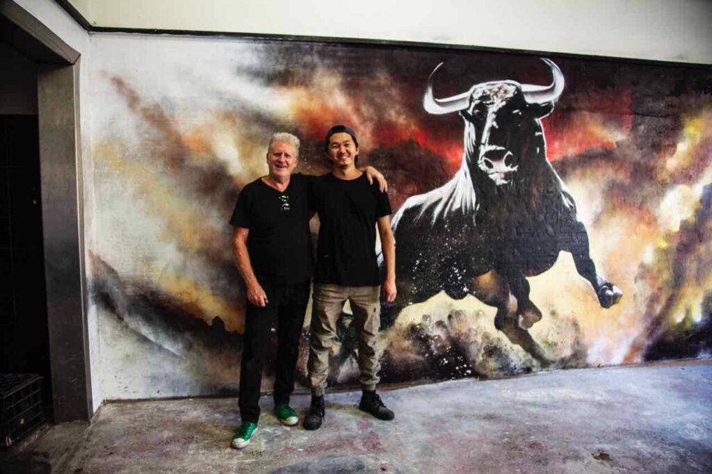 The Bull Bar mural with Wayne & Heesco