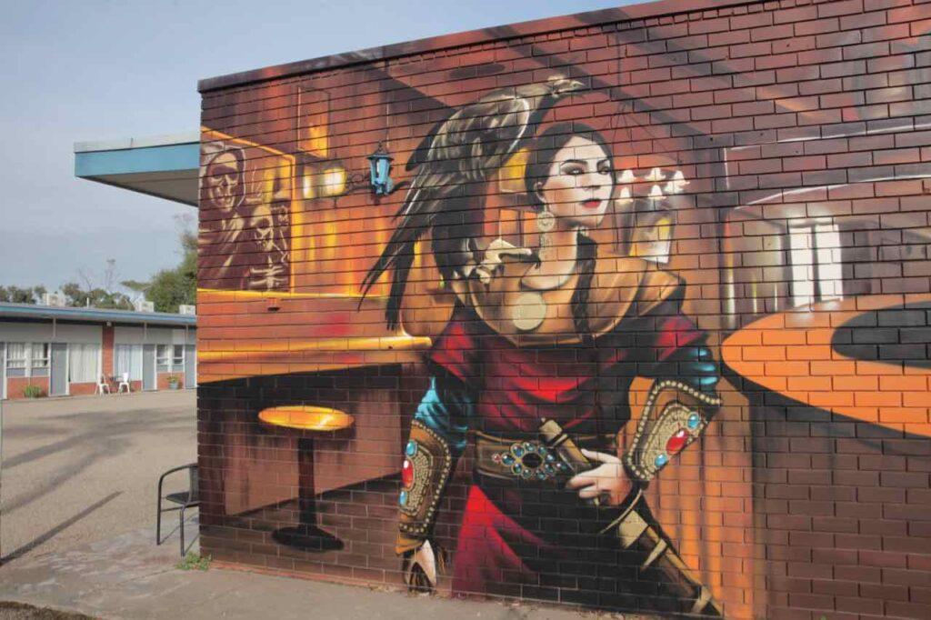 Street art on The Ship Inn wall un Yarram, Gippsland